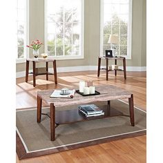 Nadav Square Faux Marble 3-Piece Coffee and End Table Set, Dark Cherry, Multicolor