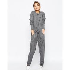 ASOS Jumpsuit with long sleeves and drawstring waist in sweat ($55) ❤ liked on Polyvore featuring jumpsuits, grey, jumpsuits & rompers, asos, grey jumpsuit, long sleeve jumpsuit and gray jumpsuit