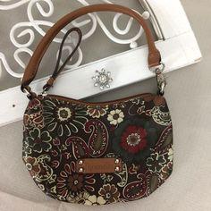 Tignanello Wristlet Purse Handbag Browns/Paisley Satin Look  #Tignanello #Wristlet