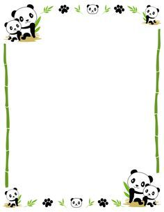 Kite border pinterest kites border border clip art featuring cute pandas bamboo and paw prints free downloads at voltagebd Image collections