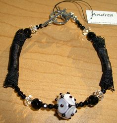 Black and White Art Glass, Onyx, Lace and Sterling Silver Bracelet