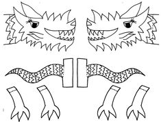 Classroom Crafts to Celebrate the Chinese New Year - Dragon Puppet Template (printable)