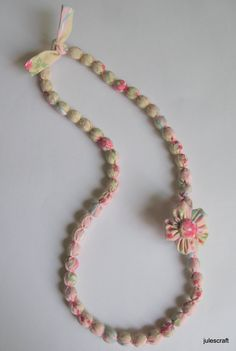 Fabric Beaded Necklace with flower by julescraft on Etsy, $18.00
