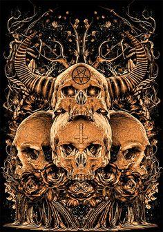 A skull for the Devil's among us Arte Horror, Horror Art, Skull Tattoos, Body Art Tattoos, Tinta Tattoo, Dark Artwork, Metal Artwork, Totenkopf Tattoos, Satanic Art