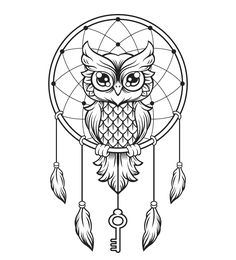 Dream-Catcher black and white owl. vector line illustration vector graphics Dream Catcher Drawing, Owl Dream Catcher, Dream Catcher Tattoo, Dream Catchers, Atrapasueños Tattoo, Buho Tattoo, Tattoo Drawings, Tattoo Care, Rosen Tattoo Arm