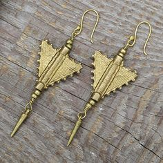 Geometric tribal brass earringunique brass arrow by artjuna