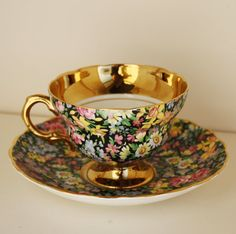 Vintage Chintz Cup & Saucer -  Rosina China  Made in England - on Etsy by tootsystreasures