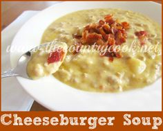 Cheeseburger Soup recipe from The Country Cook. Ooey, gooey, cheesy, and packed full of cheeseburger flavor. Sure to be a family favorite.