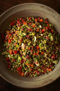 The colors alone make us want this Mung Bean Salad With Pomegranate. The Turkish chef Musa Dagdeviren shared this recipe with Wall Street Journal for a salad packed with pomegranate, a fruit rich in antioxidants believed to be beneficial to brain function. If you can't find fresh seeds, frozen ones will work nicely here. #vegan #glutenfree
