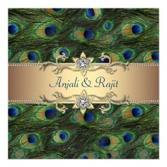 Emerald Green Gold Royal Indian Peacock Wedding Personalized Invitations | Zazzle.co.uk