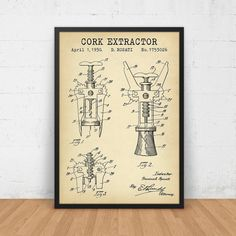 Cork Extractor Patent Print Digital Download by DigitalBlueprints