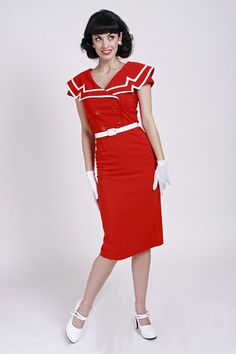 BETTIE PAGE RETRO FIFTIES DRESS VINTAGE CAPTAIN