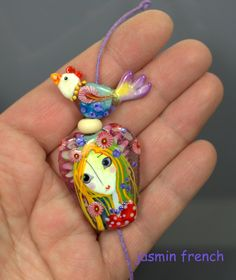 °° SPRING THOUGHTS °° focal lampwork beads set by jasmin french