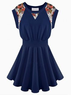 Blue Dress With Floral Lace Panel