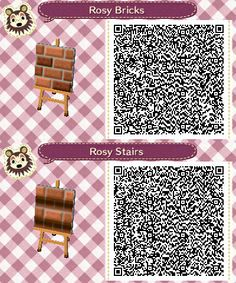 Rosy Path/Stairs Animal Crossing:New Leaf QR codes. Based on Rosy Path/Rosy Stairs by Amykins@Treetown. Requested by Crystal@Pallet. SOME of the original designs can be found at http://comfortcrossing.tumblr.com/post/61409673552/pixelroses-my-second-full-path-for-animal