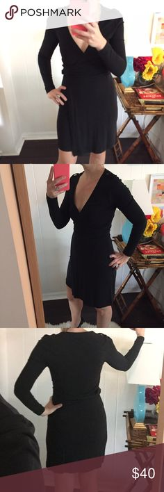 Black wrap dress with leather trim Black wrap dress from Banana Republic. Very sexy and very tight! Banana Republic Dresses Mini