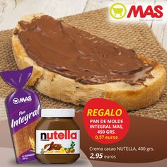 Hoy una merienda muy dulce: una tostada de Nutella! Con la compra de un bote, te regalamos un paquete de pan de molde! #ofertas #meriendas