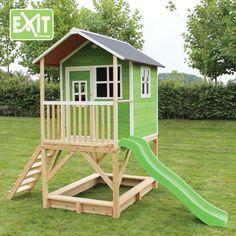 Kinder-Spielhaus EXIT Loft 500 Kinderspielhaus Stelzenhaus Holzhaus natur Kinderspielhaus Loft in grün Wer es lieber grün mag. Seit diesem Jahr gibt es das Kinderspielhaus Loft auch in grün.