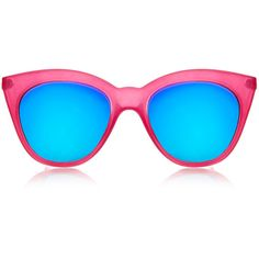 Le Specs Halfmoon Magic Fandango Pink Mirrored Cat-Eye Sunglasses ($28) ❤ liked on Polyvore featuring accessories, eyewear, sunglasses, glasses, óculos, pink, retro cat eye sunglasses, cateye sunglasses, retro sunglasses and cat eye glasses
