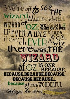 Were Off To See The Wizard Wizard Of Oz Print by PolliwoggleDesign, Wizard Of Oz 1939, Wizard Wizard, Toto Wizard Of Oz, Wizard Of Oz Movie, Wizard Of Oz Quotes, Broadway, Land Of Oz, Yellow Brick Road, Somewhere Over