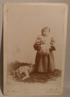 Cabinet Photo of Kansas Girl and Large Dog | eBay