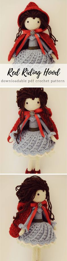 What a sweet little Red Riding Hood doll pattern! Cute Amigurumi crochet toy to make! Love her Red cape! #etsy #ad