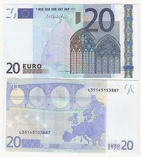 L200 BILLETE EUROPA 20 EUROS ESPAÑA SERIE L FIRMA DRAGUI SIN CIRCULAR