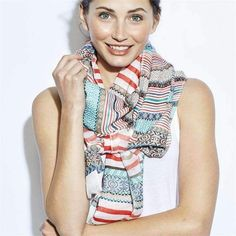 Striped Aztec Scarf with Fringe