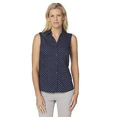 Basic Editions Women's Sleeveless Camp Shirt - Polka Dot