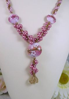 Woven Lampwork Necklace and Earrings Set Rose Pink Pearl and