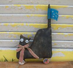 Primitive Americana Patriotic Cat Pull Toy by Rabbithollowprims
