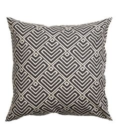 Check this out! Cushion cover in woven cotton fabric with a printed pattern at front and solid color at back. Concealed zip. - Visit hm.com to see more.