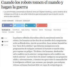 Cuando los robots tomen el mando y hagan la guerra / @el_pais   #readyfordigitalcitizenship #readyforinnovation #futurama