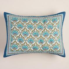 Featuring a chevron border and an intricate hand quilted ogee pattern, our exclusive floral ogee pillow shams lend soothing cool tones to your bedroom in aqua, green and blue. >> #WorldMarket Bed & Bath