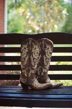 cowboy boots on the bride