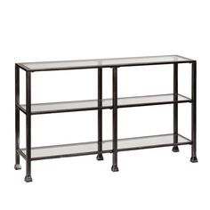 Southern Enterprises Black and Distressed Silver Glass Top Console Table HD865447 at The Home Depot - Mobile