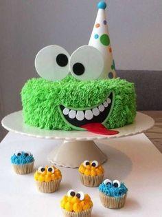 Gâteau monstre rigolo décoration poche à douille - (23)