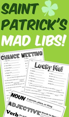 """May the luck of the __________ (Noun) be with you! Have a fun filled day while practicing identifying and using the parts of speech. - """"Chance Meeting!"""" Mad Lib including 13 opportunities for student practice. - """"Lucky Me!"""" Mad Lib including 13 opportunities for student practice. -  Also included is a handy dandy parts of speech cheat sheet. This handy guide will help remind students just what a noun, verb, adjective, or adverb is."""