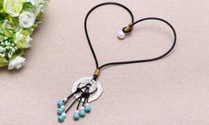 T-N002 Pendant necklace,freshwater pearl necklace,genuine leather…