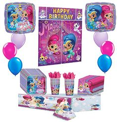 Shimmer and Shine Happy Birthday Party Pack 42pc Including PlatesNapkinsCupsTablecoverBalloons and Poster Decorating Kit...