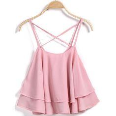 Pink Criss Cross Ruffle Vest