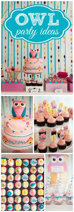 This cute first birthday party has an owl theme in pink and turquoise! See more party ideas at CatchMyParty.com!