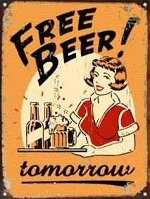 cartel de chapa vintage retro free beer l367