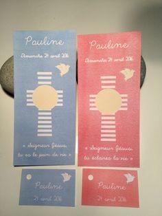 Signets de communion pour Pauline avec étiquettes pour les boites à dragées