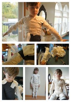 DIY Mummy Costume --this is fucking brilliant! She glued torn strips onto green thermals