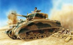 M4A1 Sherman – an American medium tank, 9 Queen's Royal Lancers,Armoured Brigade, 1st Armoured Division,, El-Alamein 1942 r. Rys. Peter Dennis.
