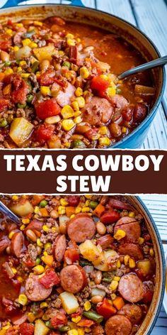 Texas Cowboy Stew Crockpot Recipes, Casserole Recipes, Soup Recipes, Slow Cooker Recipes, Cooking Recipes, Beef Stew Crockpot Recipe, Recipies, Slow Cooker Beef, Chili Recipes