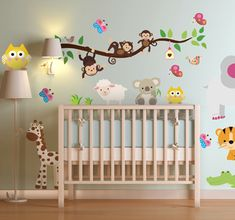 Yellow and Grey Jungle Wall Stickers, Gender Neutral Nursery Decals, swinging monkeys, giraffe, baby elephant a white tree mural decor – Colorful Baby Rooms