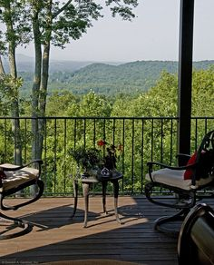 This main level porch overlooks a terrific mountain view. Plan 875-D - The Rockledge. http://www.dongardner.com/plan_details.aspx?pid=2295. #Porch #OutdoorLiving #MountainView