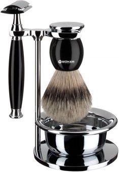 Böker Boker Shaving Set Deluxe Black Brush Silver Tip Safety Razor 4045011056604